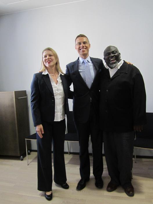 Minister Alex Stubb with Tuuli Saarela and Joe Osae-Addo